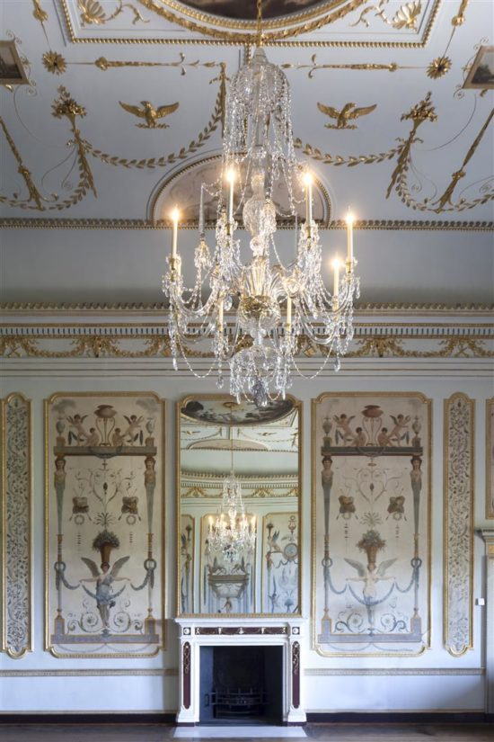 The new chandelier is surrounded by the work of Vincenzo Valdrè