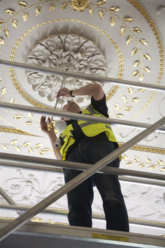 The lighting was brought to Stowe House to be assembled in April 2015