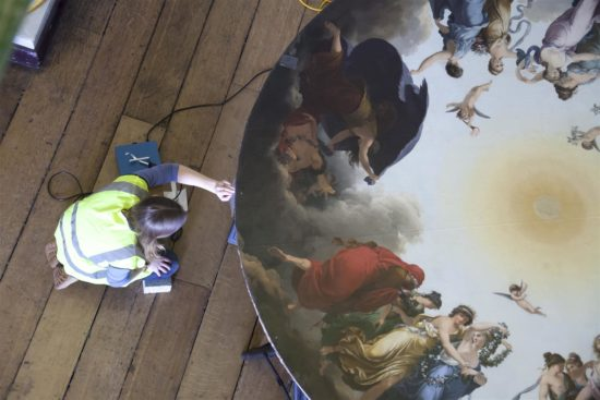 Careful conservation was needed to ensure tha the roundel was ready to be returned to its former home