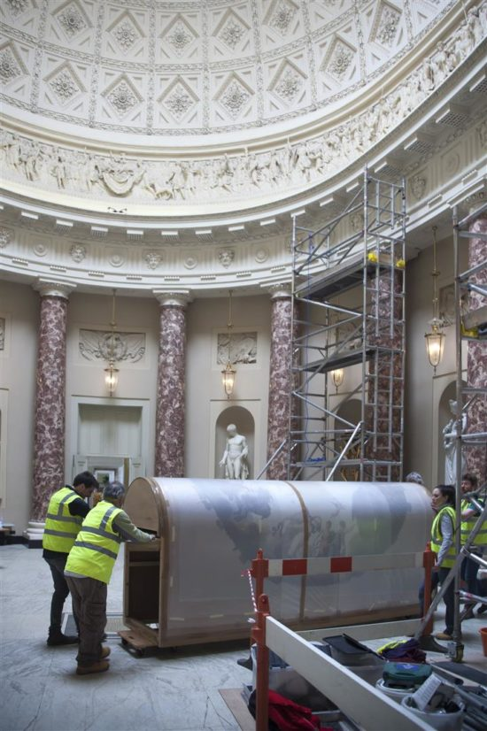 The roundal was slowly moved through the Marble Saloon towards the Music Room
