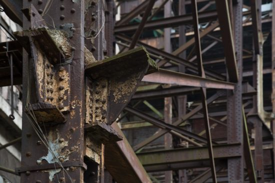 The steel girders supporting the chimney stacks