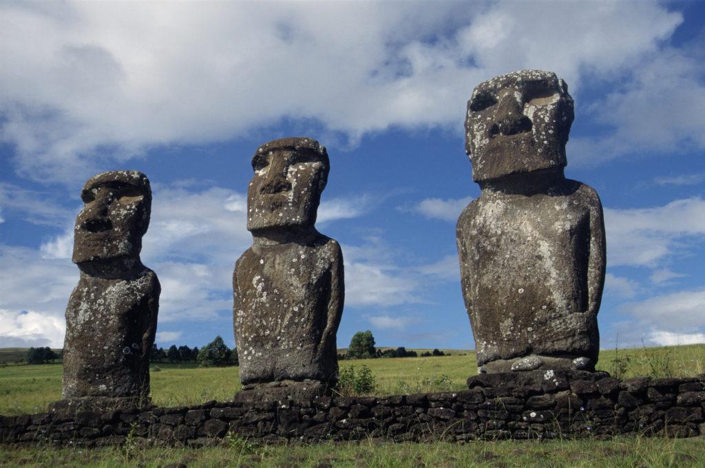 Three moai statues on Easter Island