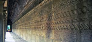 Churning of the Sea of Milk bas relief, long view - wall at angkor