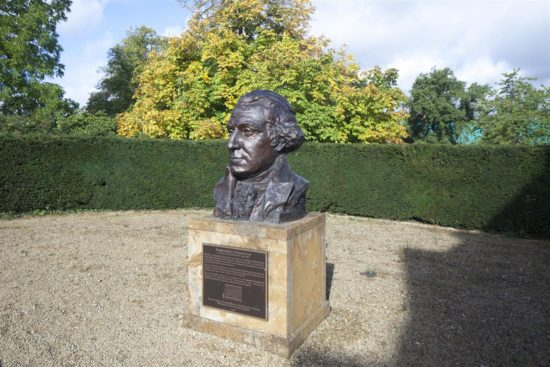 The large bust of George Washington in the garden at Sulgrave Manor is a copy of a portrait bust sculpted by Avard T. Fairbanks